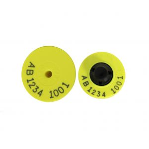 Pig Light Weight FDX EID button tag with Standard Male Button Yellow